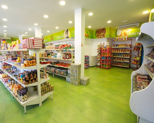 A well stocked mini supermarket.