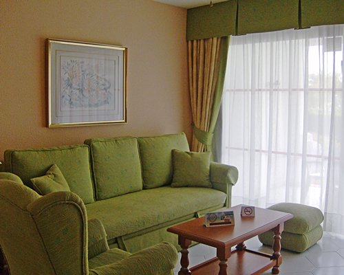 A furnished living room with pull out sofa.