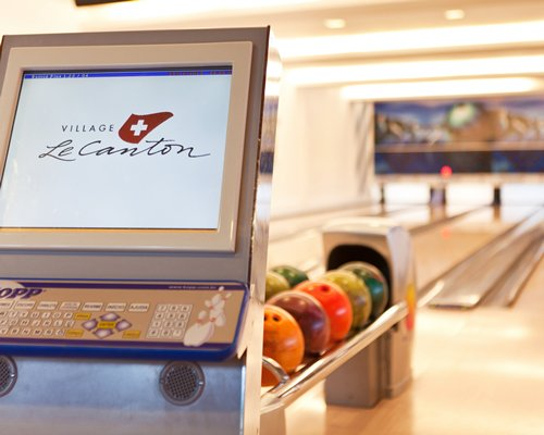 A large indoor bowling alley.