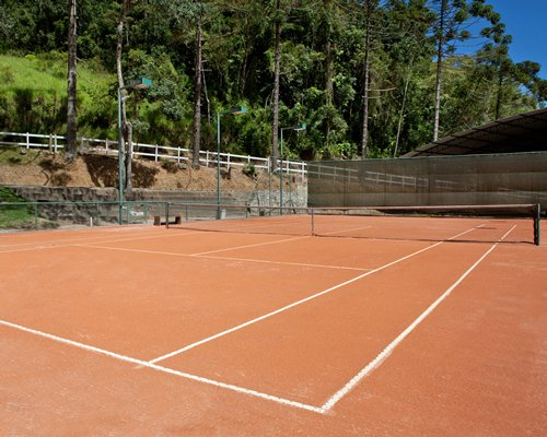 An outdoor tennis court surrounded by trees.
