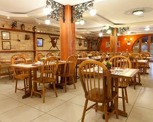 A large well furnished indoor dining area.