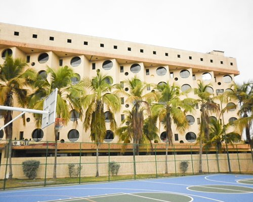 View of multiple unit balconies with palm trees and outdoor basketball court.