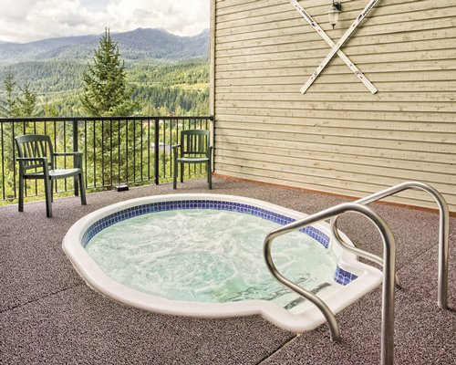 An outdoor hot tub with the landscaped view.