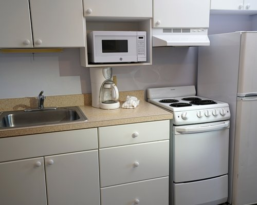 A well equipped kitchen with a sink.