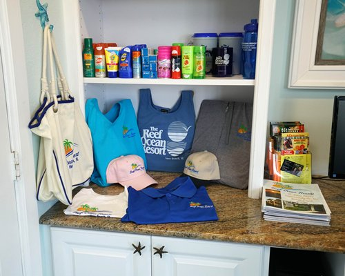 A view of resort merchandise with other accessories.