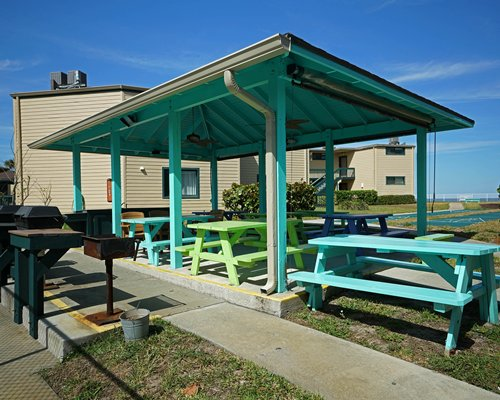 Picnic area with barbecue grills.