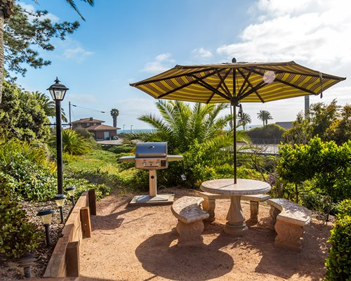 Scenic picnic area with sunshade and barbecue grill.