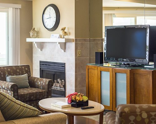 A well furnished living room with a fireplace and television.