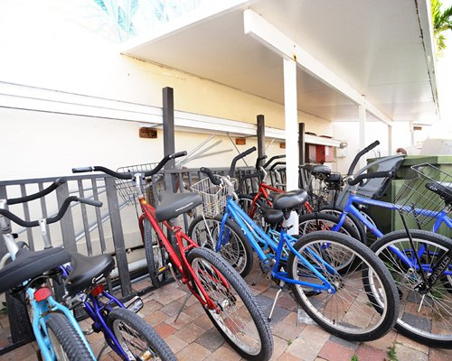 View of bikes parked outside a unit.