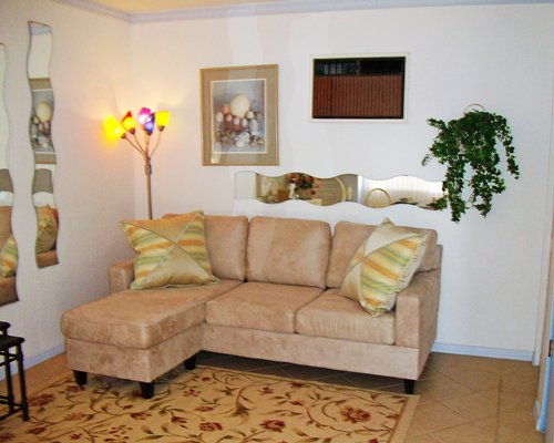 A furnished living room with sofa.