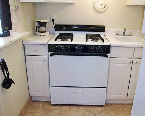 A well equipped kitchen with stove and a sink.