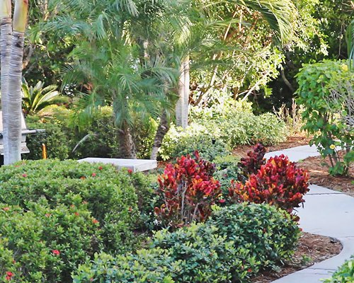 A garden with a pathway at Plantation Bay Villas resort.