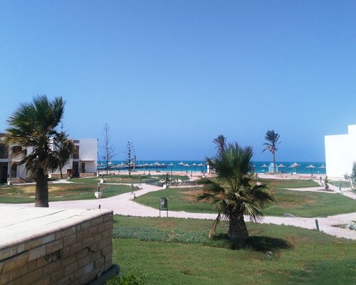 A view of resort grounds with beach front umbrellas on Red Sea.