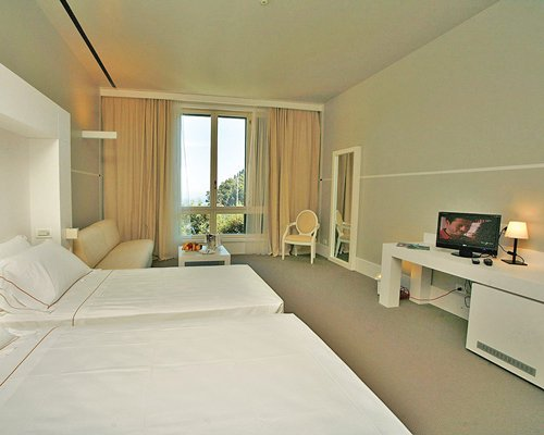 A well furnished bedroom with a television and an outside view.