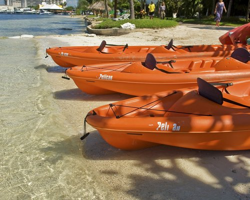 A view of three beached kayaks.