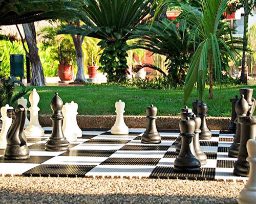 An outdoor giant chess board.