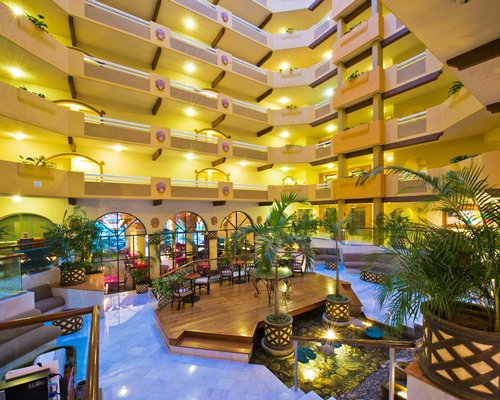 View of multiple unit indoor balconies at Villa del Palmar Cabo San Lucas.