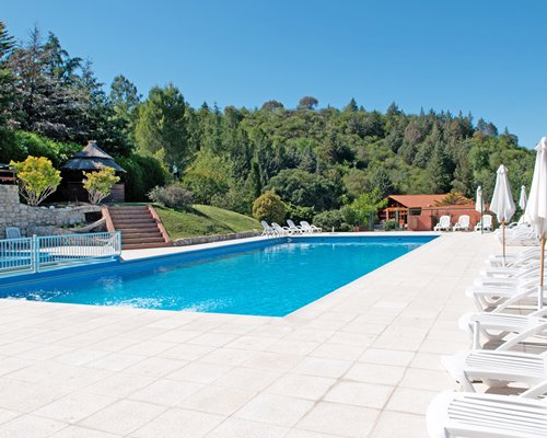 Outdoor swimming pool with chaise lounge chairs and sunshades surrounded by wooded area.