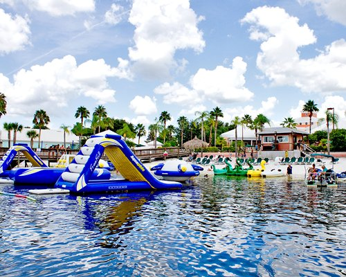 A lake view of the Exploria Resorts with water slide.