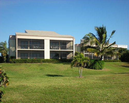 Scenic exterior view of multiple unit balconies at Sanibel Beach Club.