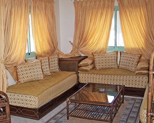 A well furnished living room with outside view.