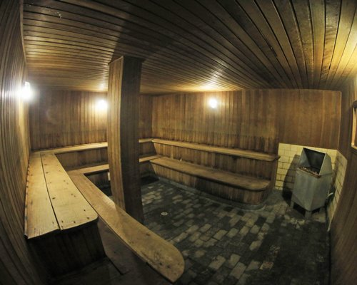Large wooden sauna.