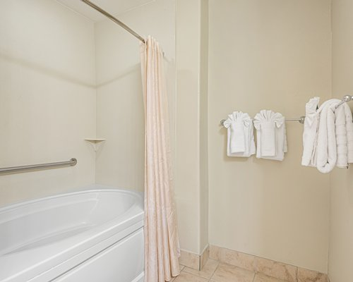An open double sink vanity.