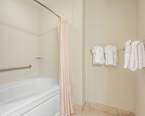 An open double sink vanity.