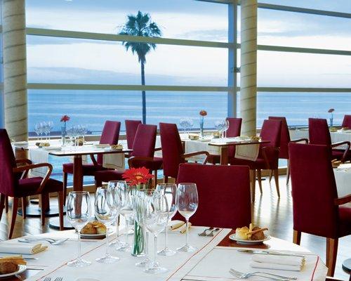 A fine dining restaurant alongside the ocean.