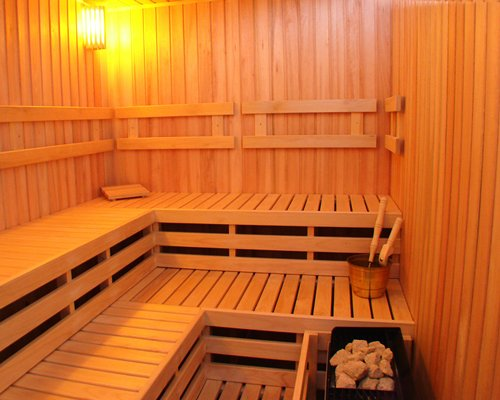 An indoor sauna at Hostal del Sol II resort.