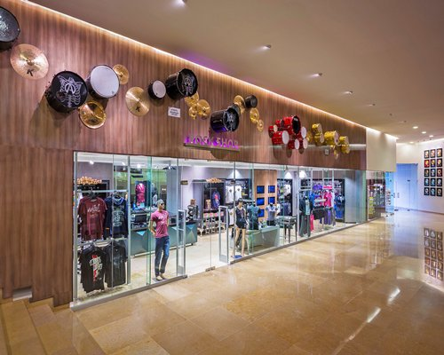 View of clothing store at shopping mall.