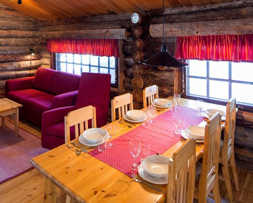 Indoor dining area with outside view at Holiday Club Ruka.