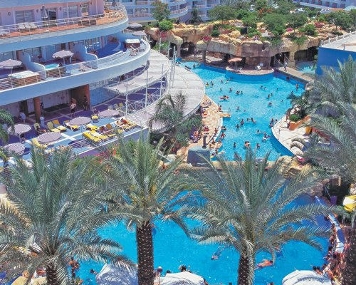 An aerial view of the Club Hotel Eilat resort alongside the swimming pool.