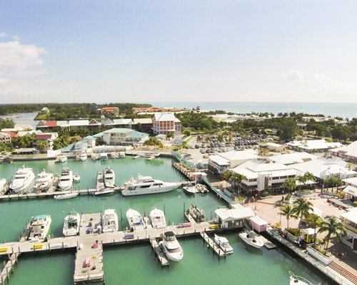 An aerial view of a marina.