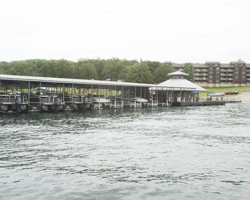 A marina alongside multi story resort condos.