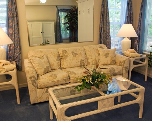 A well furnished living room with sofa.