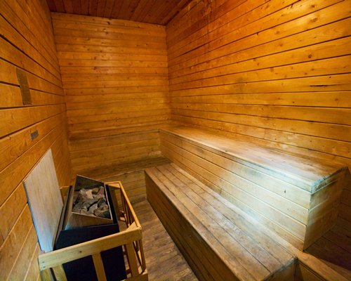 A sauna at Beachwoods resort.