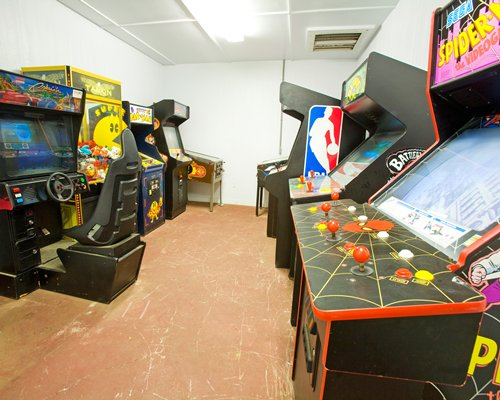 Recreation room with arcade games.