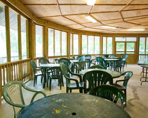 An indoor dining area at Beachwoods resort.