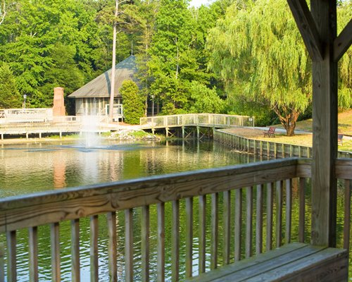 A view of the waterfront from a wooden deck.