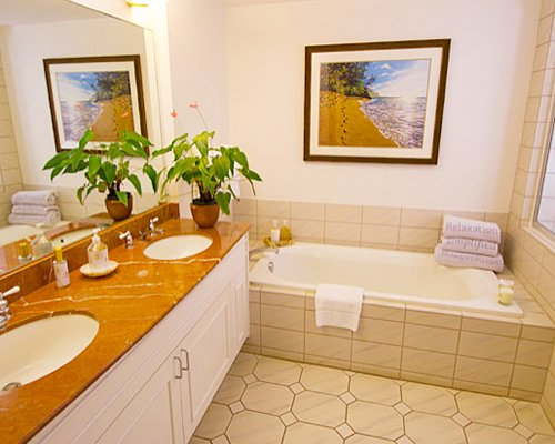 A bathroom with shower and bathtub with double sink vanity.