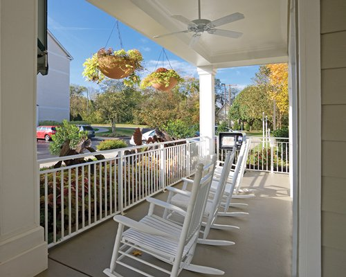 A patio overlooking the parking lot.