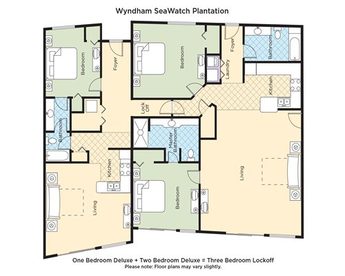A floor plan of one bedroom Deluxe and two bedroom Deluxe equals Three Bedroom Lockoff.