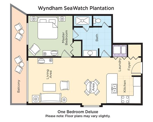A floor plan of one bedroom Deluxe.