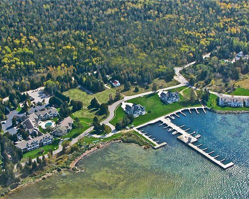 Aerial view of the Baileys Harbor Yacht Club Resort alongside the lake.