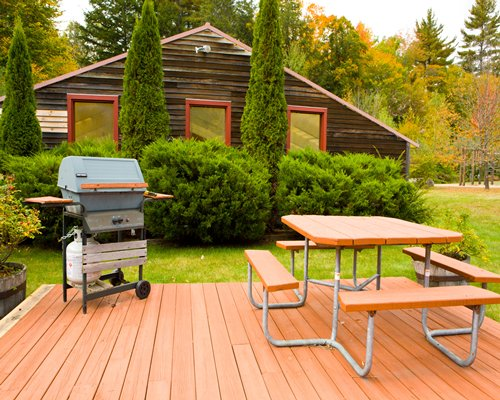 Scenic outdoor picnic area with a barbecue grill.