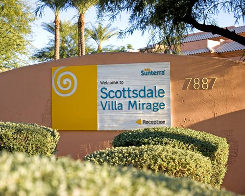 Signboard of Scottsdale Villa Mirage.
