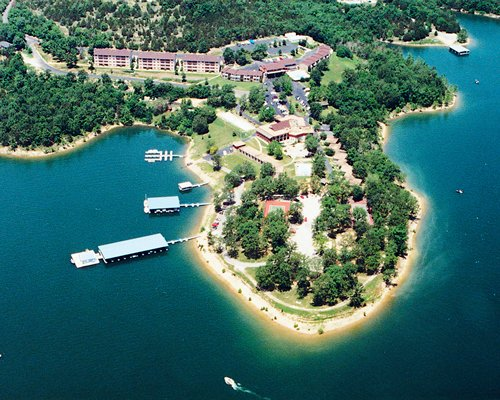 Arial view of the Branson Yacht Club at Rock Lane resort alongside the waterfront.