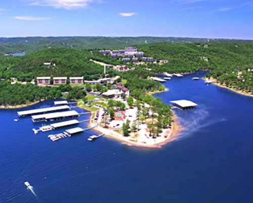 An aerial view of Branson Yacht Club at Rock Lane resort alongside the lake.