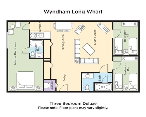 A floor plan of three bedroom Deluxe.